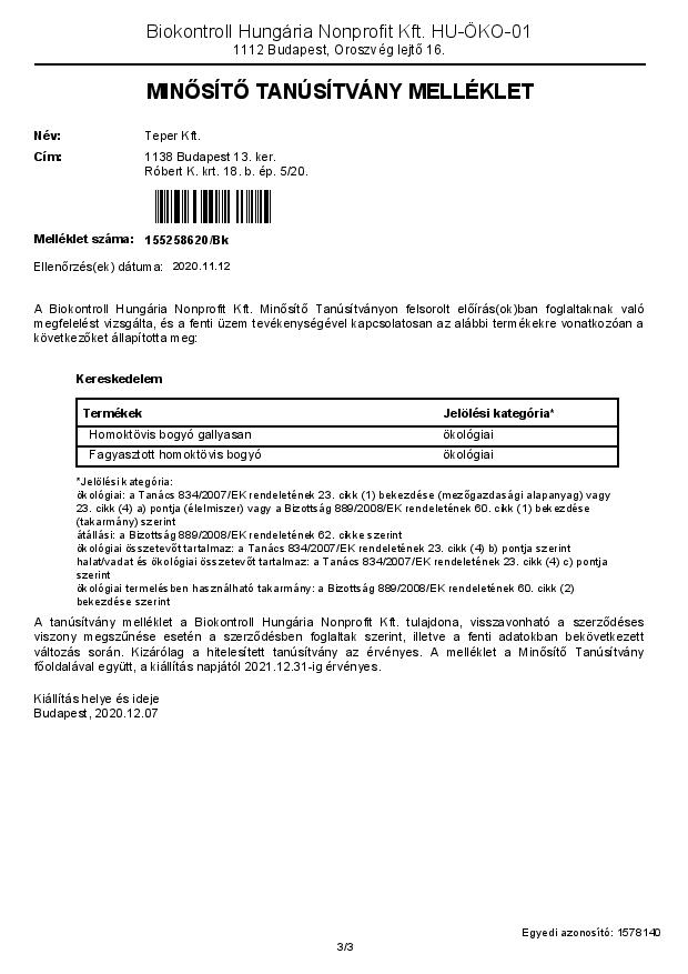 Biokontroll certificate
